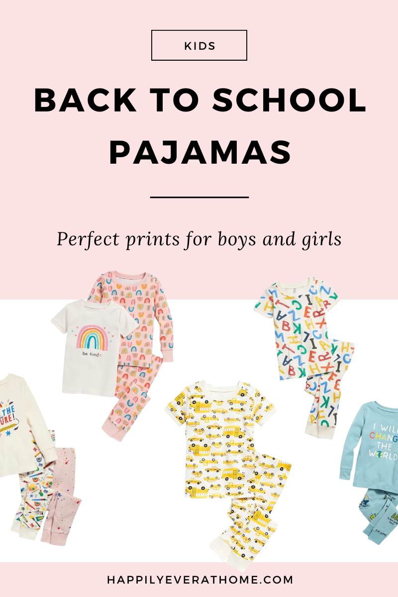 Blog post image promoting a list of back to school themed pajamas for kids