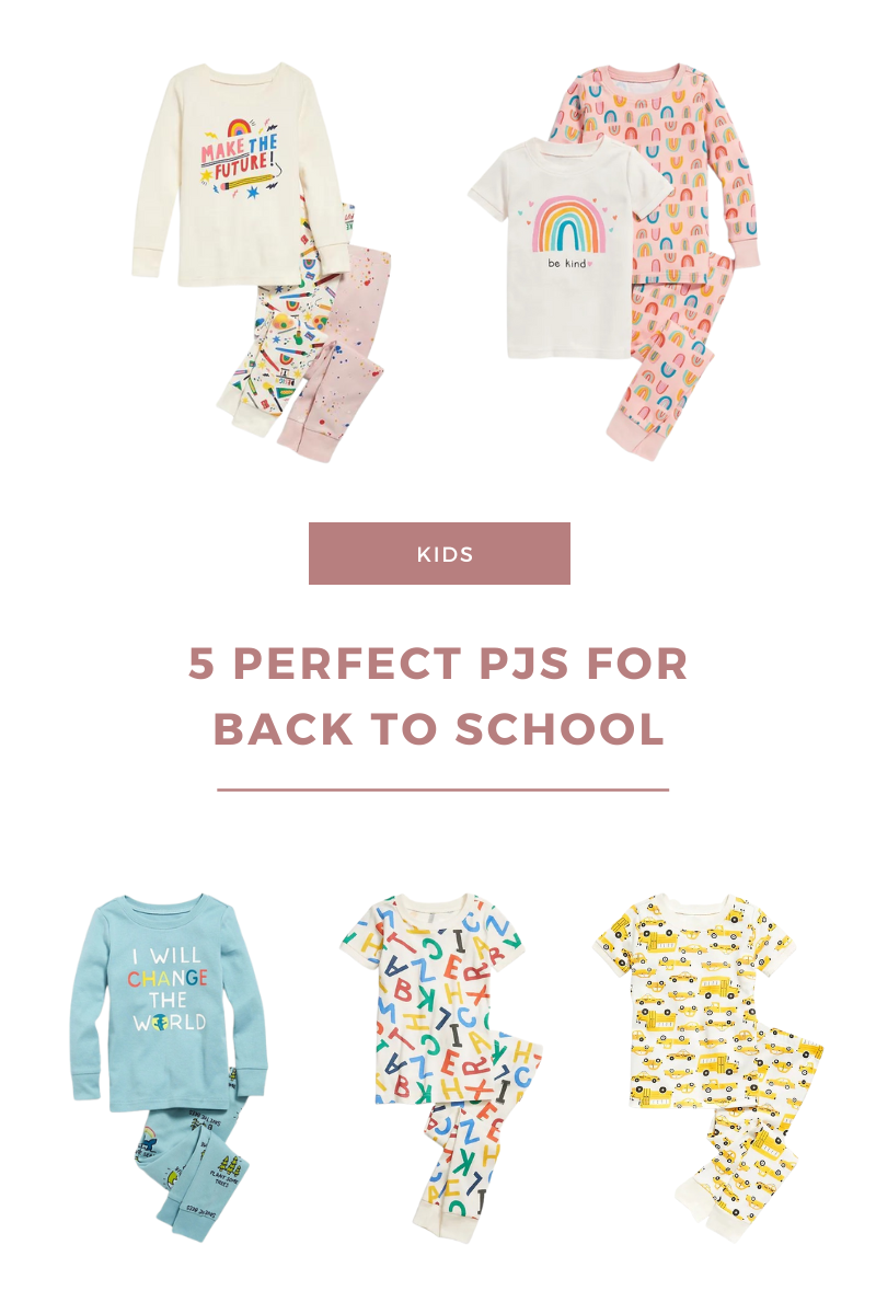 A collage of 5 kid sized pajamas with back to school theme
