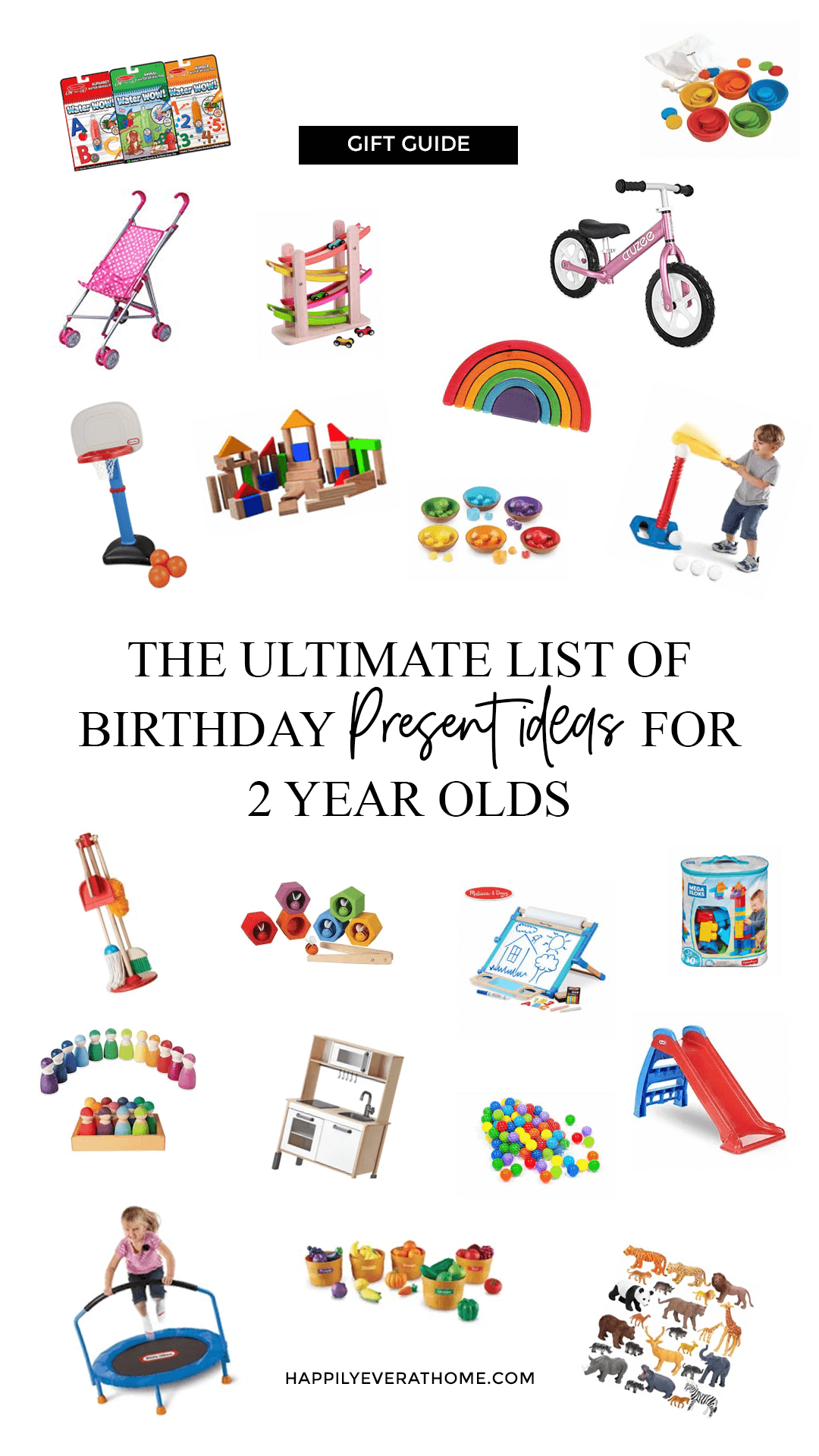 Collage of gift ideas for 2 year olds