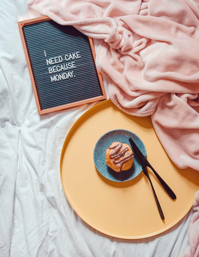 """""""I need cake"""" letterboard sign"""
