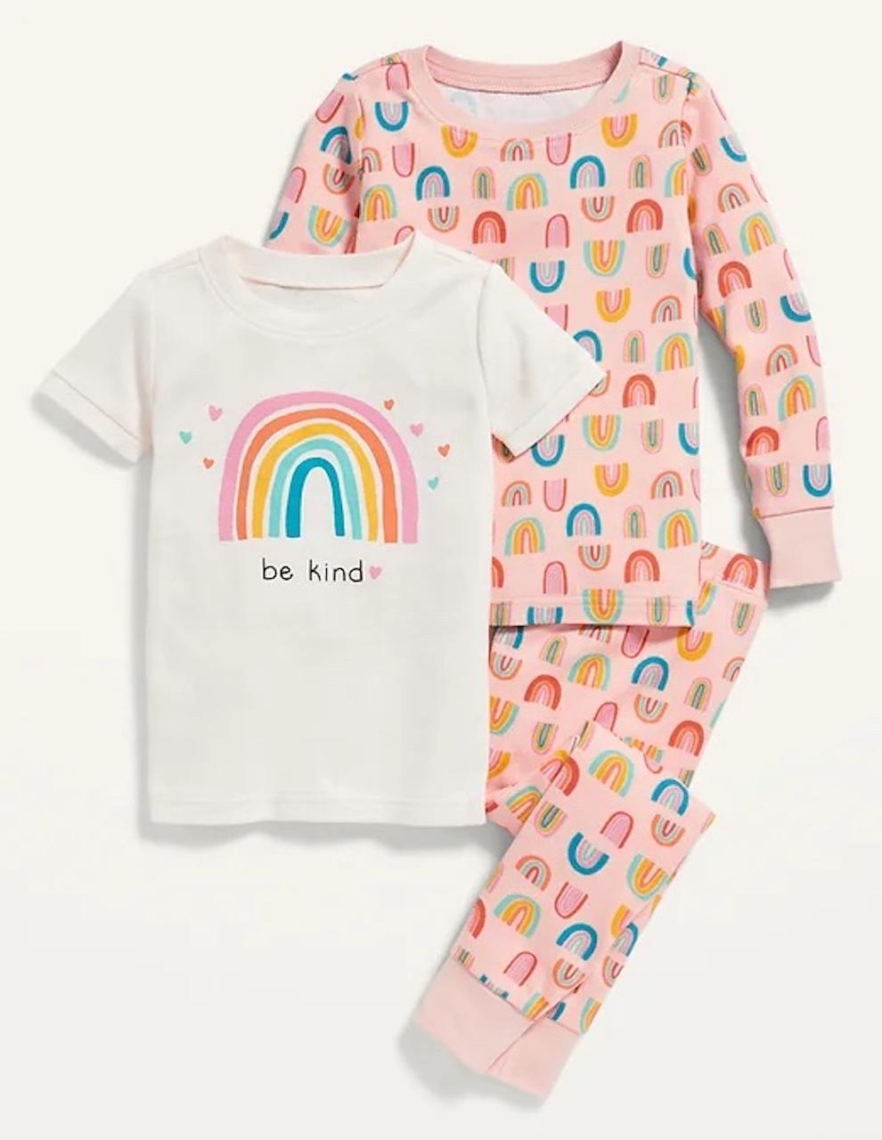 """Kids pajamas saying """"Be Kind"""" with rainbows"""