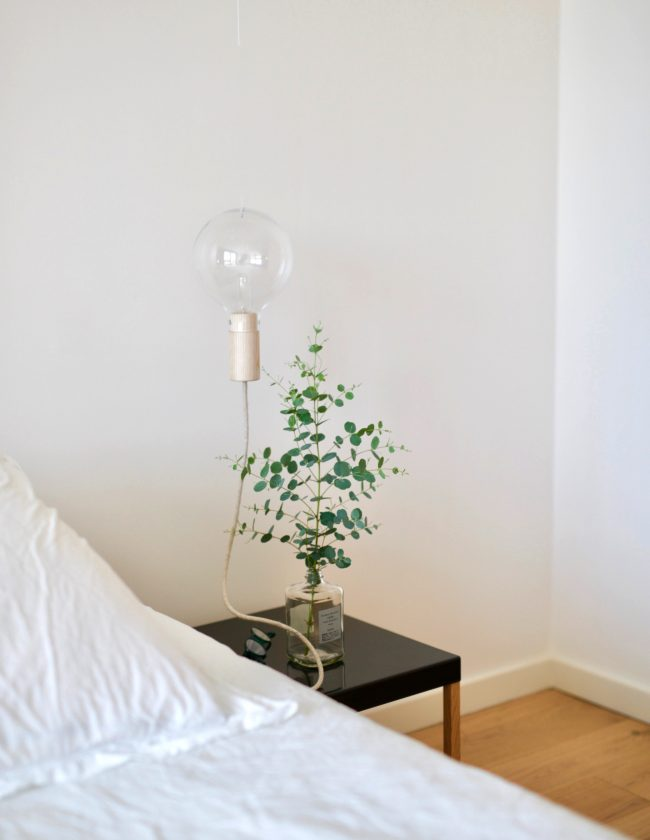 Minimal bedside table with green plant