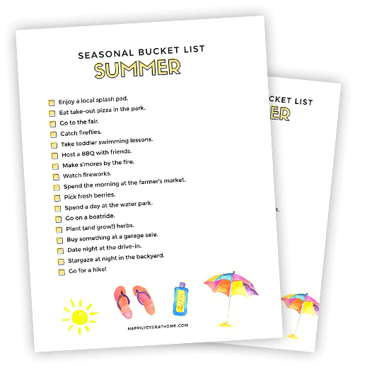 A free printable summer bucket list for families with toddlers