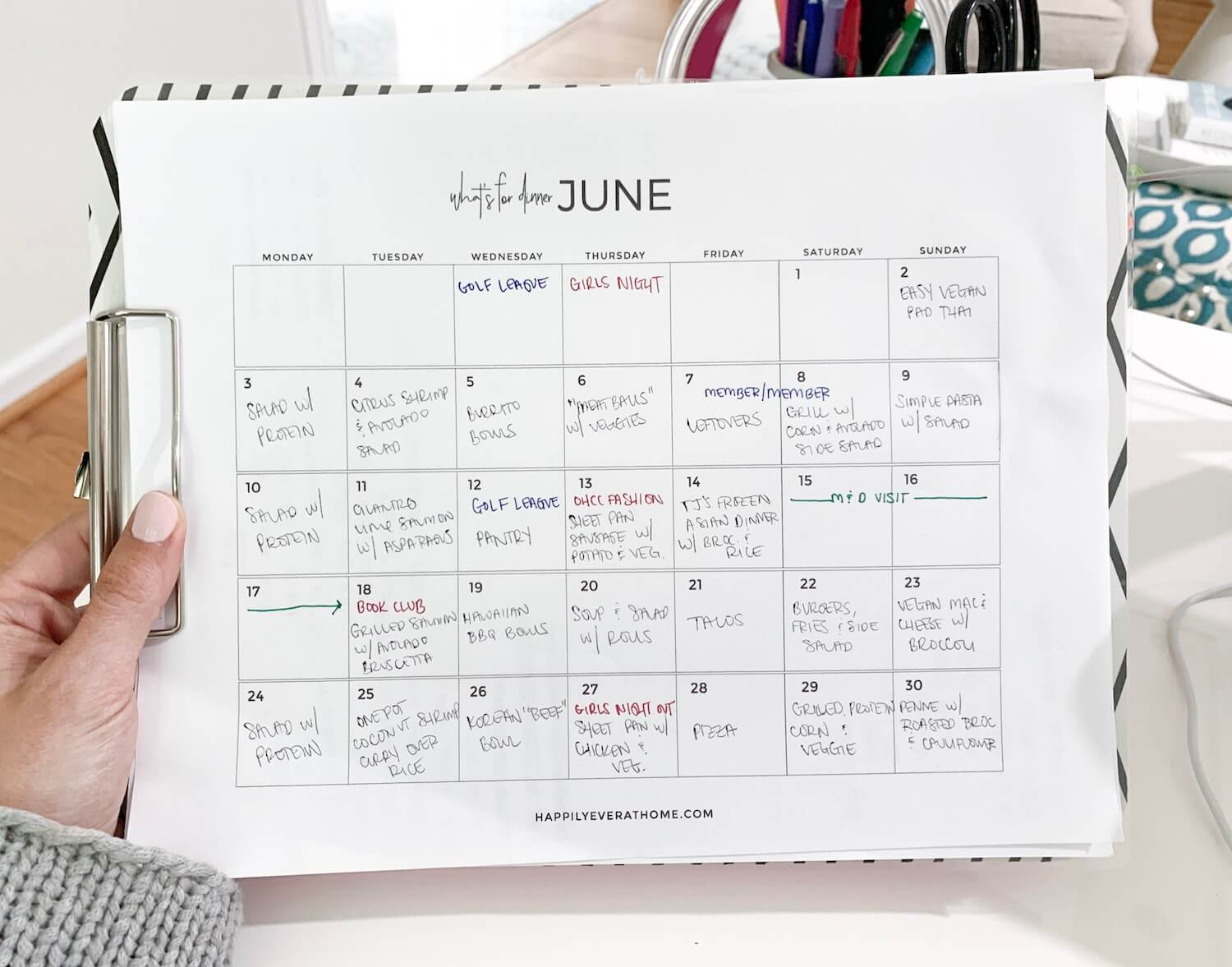 Monthly meal plan for the month of June